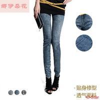 Korean women with velvet significantly thin autumn female tide slim stretch tight imitation denim Leggings nine minutes of pants