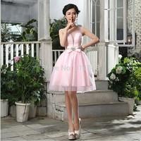 Free Shipping Real Image Princess Anna Costume Vestidos Sexy Party Dresses Sheer Long Sleeves Short Pingk Prom Dresses 2014