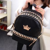 Shoulder bag female Korean tidal middle school bags PU leather black rivet Crown College Wind bag leisure backpack