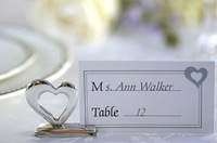 2014 New Free Shipping 50PCS/LOT Popular Novel Charming Silver Heart Shaped Place Card Holder Wedding Decoration Accessory