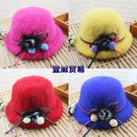 HT-1447  free shipping 100% rabbit hair girls winter hats  children fedoras hats Fur hat
