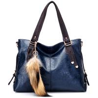 2014 Winter Brief Vintage Genuine Cowhide Leather Handbags for Women Bolsas Femininas Shoulder Messenger bags with Fur Pendant