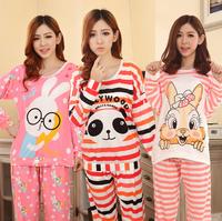 2014 Cotton Cute Cartoon Pajamas Winter Home Clothing Suit Pijamas Feminino Inverno Sleepwear Pyjamas Satin Homewear For Women