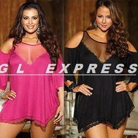 2014 NEW WOMEN PLUS SIZE OFF THE SHOULDER Sexy Ruched Solid Sleeve babydoll