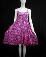 2015 Women's Fashion Cotton Dress Summer Bohemian Knee-Length O-Neck Spaghetti Strap