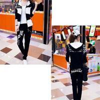 HE 2014 Hot Selling Korean Hooded Sweatshirts Sets Women Autumn Long Sleeve Letter Print Active Hoody 2 Colors Size M L XL XXL