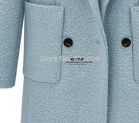 New 2014 Hot Warm Autumn V-Neck Women Jacket Double Buttons Long Coat Winter Windbreaker for Lady
