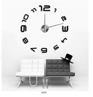 Free Shipping !big digital mirror wall clock Modern design,large designer wall clocks.3d watch wall sticker,unique giftXS-008