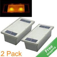 Solar deck light +IP68 Waterproof+2Yellow  LED+ 100% Solar powered+ 2pcs/lot + Free shipping