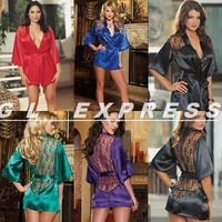 2014 Womens Sexy Satin babydoll Lace Silk Lingerie Sleepwear Nightdress Robe + G-string