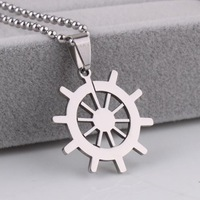Silver Rudder Titanium 316L Stainless Steel pendant necklaces for men women wholesale Free shipping