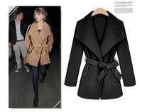 New women's lapel wool coat Slim Long sleeve Jacket with belt free shipping