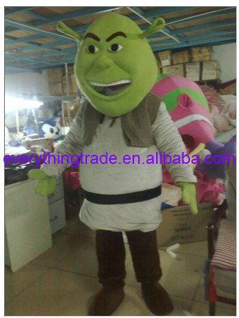 New arrival 2014 Adult cartoon character lovely big-head Shrek Mascot Costume fancy dress party costumes(China (Mainland))