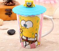 Free shipping New cute SpongeBob ceramic mug cup large capacity stalk accompanying cup