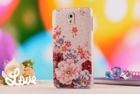 2014 Dream Series Original  Diamond 3D Painted Relief Flower Cover Phone Cases For Samsung Galaxy Note 3 N9000 ,free shipping