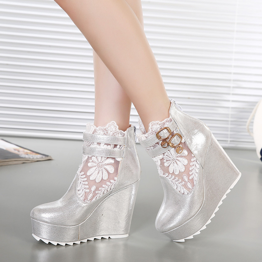 2015 High Heels Lace Spring Summer Ankle Boots Women Sandals Height Increasing Wedge Heel Sandals Hollow Platform Women Shoes(China (Mainland))