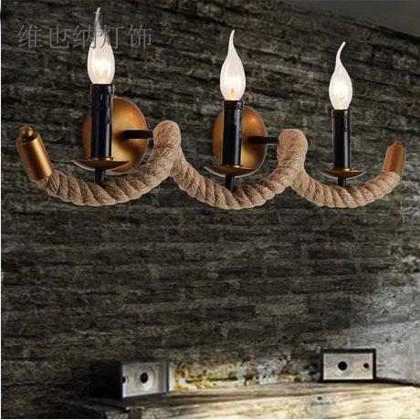 American Wall bedside lamps creative design retro bar aisle wall three candle lights loft restaurant(China (Mainland))