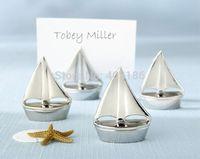 2014 New Free Shipping 50PCS/LOT Popular Novel Charming Silver Shining Sails Place Card Holder Wedding Decoration Accessory