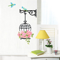 70x45cm(28x18in) Roses & Bird Birdcage Home Decoration Art Wall Sticker Paper Decal For Living Room Elegant
