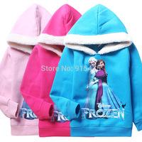 2014 New Winter Children's wear Frozen Girls Clothing Children Hoodies Outerwear kids Jacket Coats Thickening Warm Costume