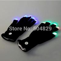 wholesale 200pcs(100pair) /lot  concert concert LED Gloves Rave light show fingers Colorful Lighting, flashing / light-up glove