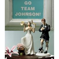Player Groom Cheering Bride Wedding Cake Toppers