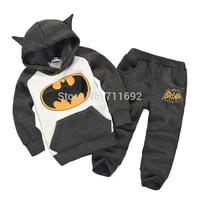2014 Cotton Flax Batman cartoon hero style suits Hoodies + pants set Children's clothes coat boys girls sweater clothing sets