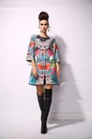 New 2014 women ladies autumn winter fashion trench coat vintage print Windbreaker high street overcoat outwear 4XL D1699