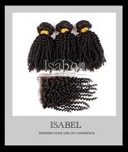 Isabel hair cheap virgin mongolian kinky curly closure,kinky curly with lace closure,kinky curly hair 3pcs lot free shipping(China (Mainland))