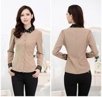 Lady Casual New Lace Collar Button Flowers Tops Chiffon Long Sleeve Women Shirt 2014 New Arrival Women Chiffon Top Hot Sale