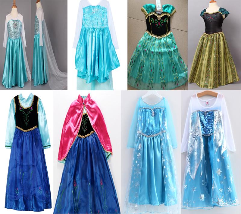 2014 NEW 1PC Frozen Dress Elsa Snow Queen Dress Girl's Formal Dress Shiny Sequined Cloak Children Costume Girls Party Dress(China (Mainland))