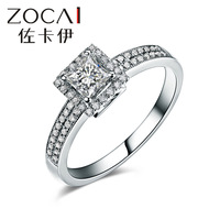 NEW ARRIVAL ZOCAI Princess cluster diamond ring 100% natural diamond 0.48 ct certified diamond engagement ring 18K white gold
