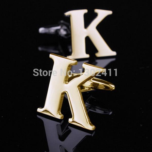 kate para k k letra inicial abotoaduras abotoaduras para masculino francês camisa mens dom conjunto de jóias caixa frete grátis nome botões no punho(China (Mainland))