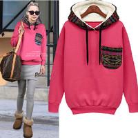 New 2014 Autumn Winter Thicken Long Sleeve Sport Suit Women Loose Casual Hooded Sweatshirt Pullovers Women Hoody HD019