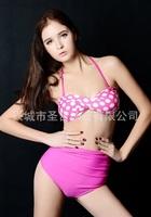 Size S/M/L/XL high waist dot top bikinis set vitoria swimwear women secret swimsuit vintage maillot de bain - VS 63