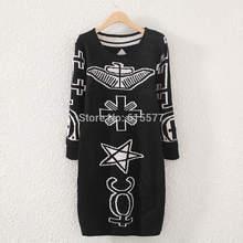 Autumn 2014 O-Neck Black Totem Printed Slim Knitted Women Sweaters Dress(China (Mainland))