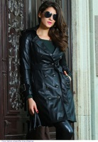 Women Autumn&Winter Hot Sale 2014 Fashion Black Leather Womens Long Trench Coat Jacket abrigos mujer manteau femme