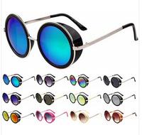 2014 STEAMPUNK Retro COATING mens vintage round SUNGLASSES Men women brand designer gafas OCULO de sol feminino Sun GLASSES G287