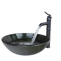 Round Bathroom Sink Tempered Glass Vessel Sink With Oil Rubbed Bronze Bathroom Faucet And Pop Up Drain DD40138655-1