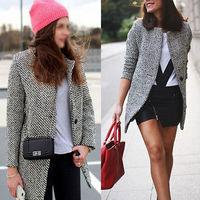 Women Large Lapel Wool Cashmere Long Winter Parka Coat Trench Outwear Jacket E6167