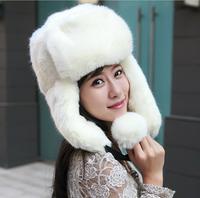 Unisex oversized fur snow cap  Imitation rabbit fur ear cap thickening  Warm winter hat
