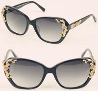 2014 New fashion vintage Flower sunglasses Brand Baroque Designer women retro Gold Carved Rose sun glasses oculos de sol G113