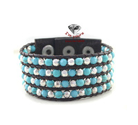 Foreign trade the original single act the role ofing is tasted texture leather green beads of crack width bracelet