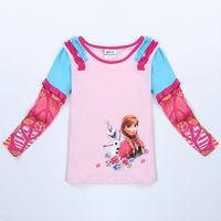 Frozen Shirt  Baby Girls t Shirt Long Sleeve Shirts Children Clothes Nova Girls Cotton  Autumn Clothing  For Girls  Wear F5370