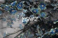 Bougainvillea black sky blue sequin embroidery mesh embroidery fabric lace dress performance clothing fabrics
