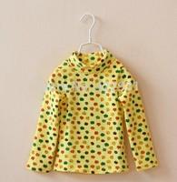 2014 autumn winter kids girls long sleeve turtleneck t shirt apple printing brand high quality cotton girls t shirt tops 2-8yrs