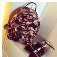 New 2014 Fashion Retro Printing Rose Oil Painting Bags Women Pvc, Leather, Handbags Women Messenger Bags Shoulder Bags Clutch