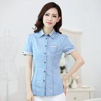 Lady Cotton denim long-sleeved casual Tops  short Sleeve Women Shirt 2014 New Arrival Women  Hot Sale (China (Mainland))