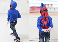 Retail 2014 autumn New fashion Children clothing Spider man large Children Coat Boys Jacket Spiderman Outerwear Kids hoodies