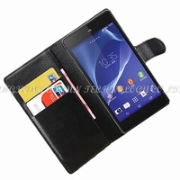 1pcs/lot luxury wallet leather Cover Case Skin Shell for Sony z2 for Xperia z2 l50w flip leather case with credit card holder